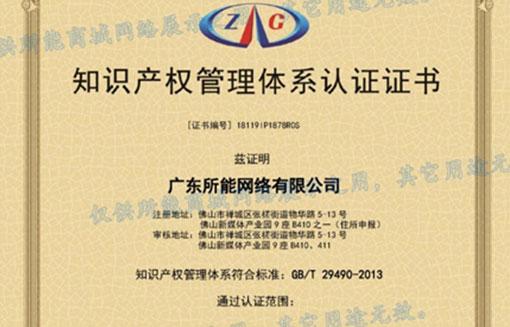 所能网络获得知识产权管理体系GB/T 29490-2013认证证书