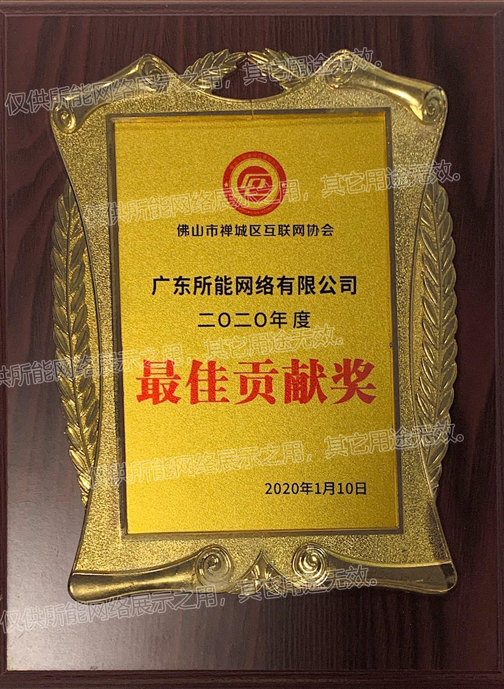 佛山市禅城区互联网协会《最佳贡献奖》